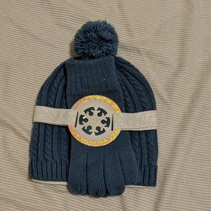 NY&C Pom Beanie and Gloves Set